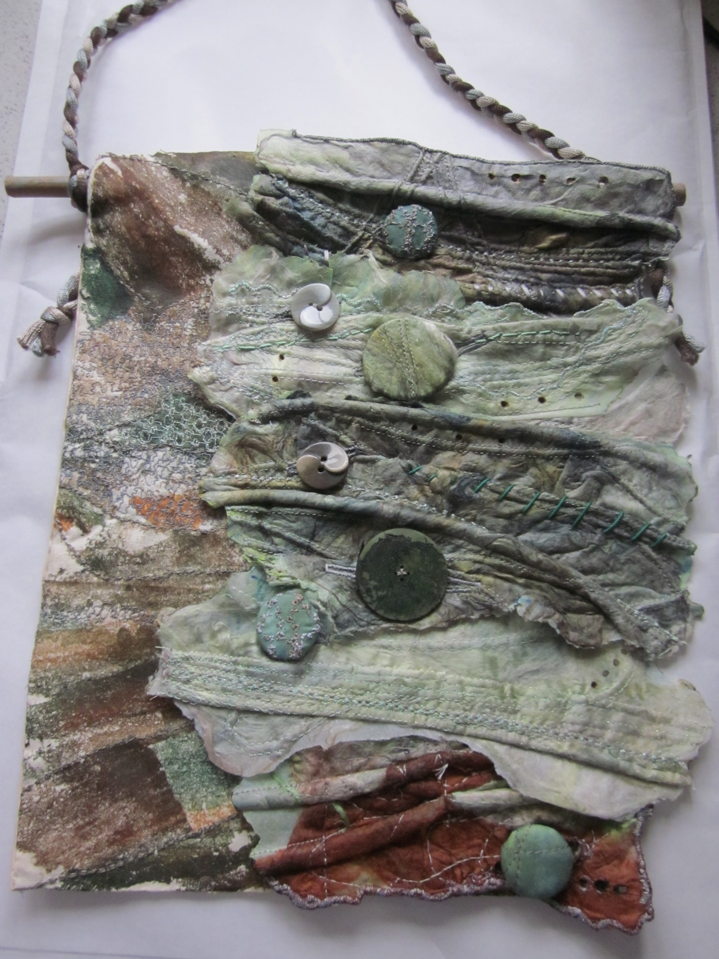 Silk Paper hanging with buttons & cords. SOLD