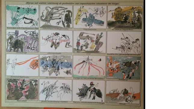 Moldovan Handsigniert Allegorie und wirkliche Schilderungen der gewöhnlichen und ungewöhnlichen Schrecknisse des Krieges.Auflage 2500 Stück Größe 50x65. cm Signiert vom Künstler