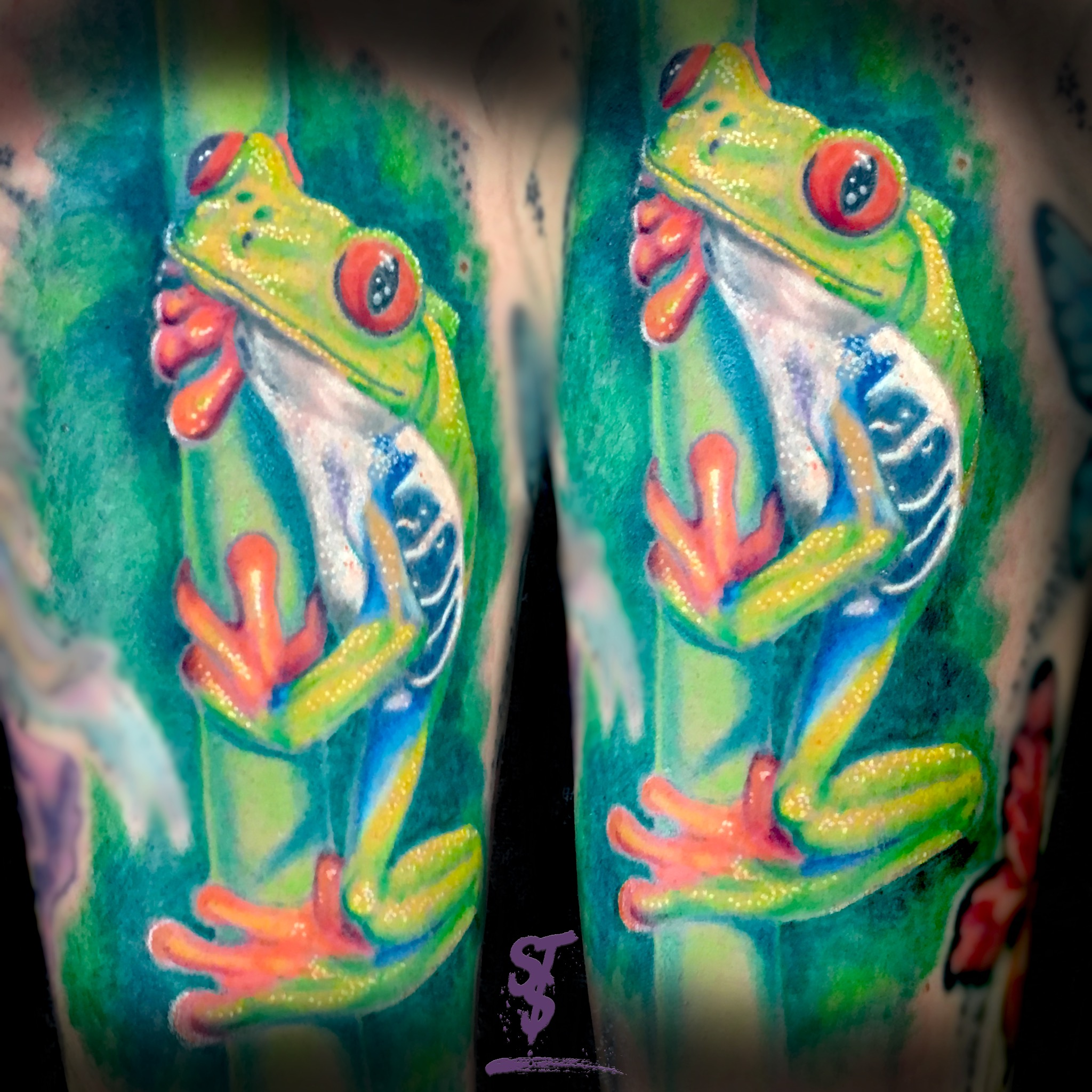 Frosch frog realistic color Tattoo