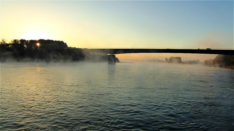 Seltenes morgendliches Schauspiel - dampfender Rhein !