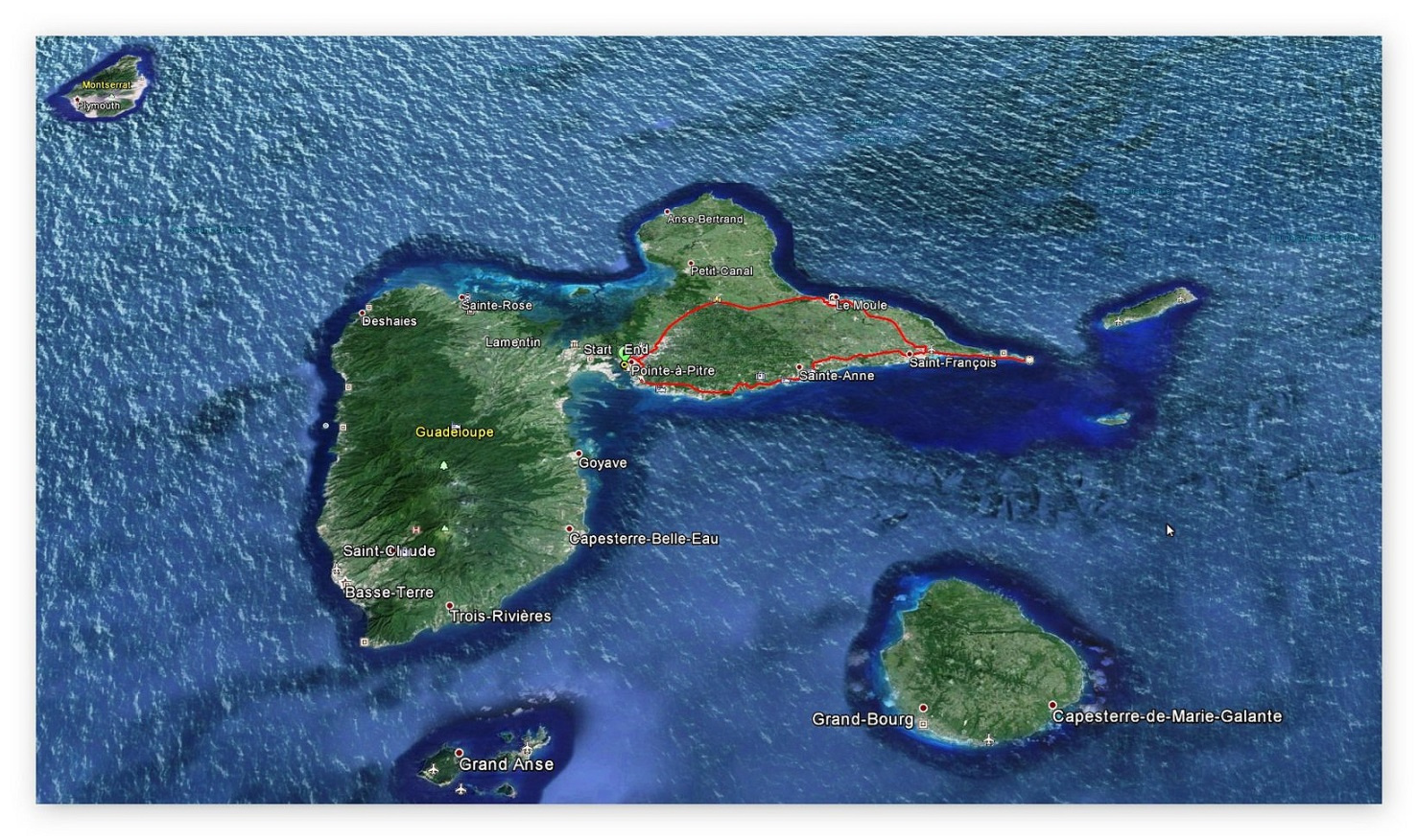 GPS - Aufzeichnung Landgang in Guadeloupe