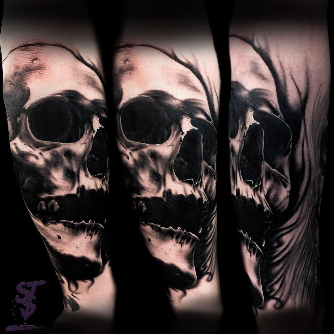 Skull Totenkopf Black Tattoo