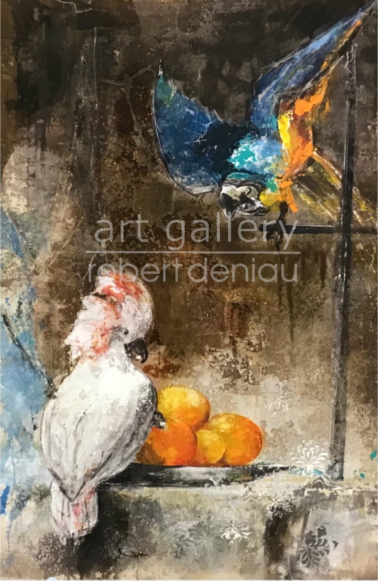 Parrots Party H106x69 cm  Mixed Media on canvas