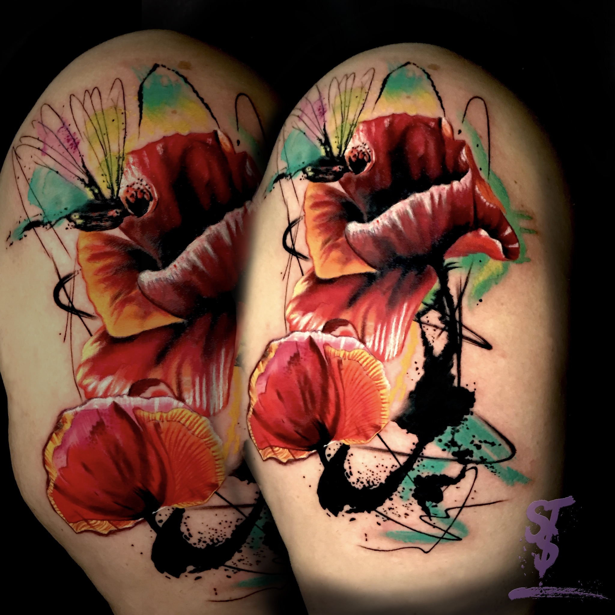 Mohnblume Poppy watercolor modern Tattoo