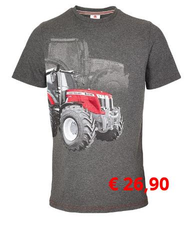 T-Shirt mit auffallender  MF 8740 S Grafik, Jersey-Shirt in  stilvollem dunklem grau-melange.  Material: 50 % Baumwolle,  50 % Polyester  Artikelnummer: X993321802 € 26,90  Größen: S-XXXL
