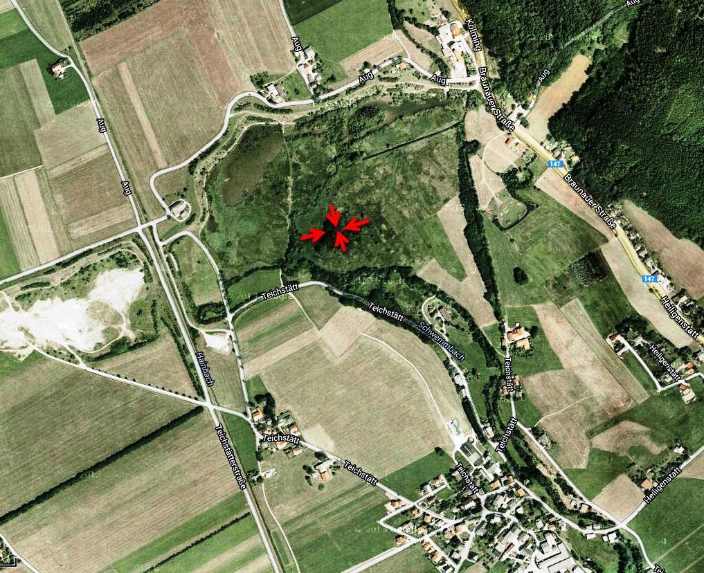 Lage der Hügelgräber im Naturschutzgebiet Teichstätt