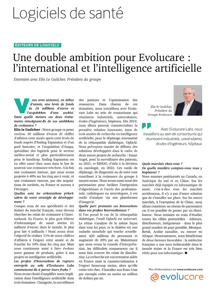 Une double ambition pour Evolucare : l'international et l'intelligence artificielle Mai 2019