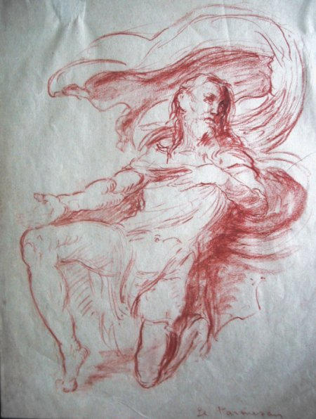 DESSIN: Saint Roch un genou en terre implorant la terre Francesco Mazzola dit le Parmezan