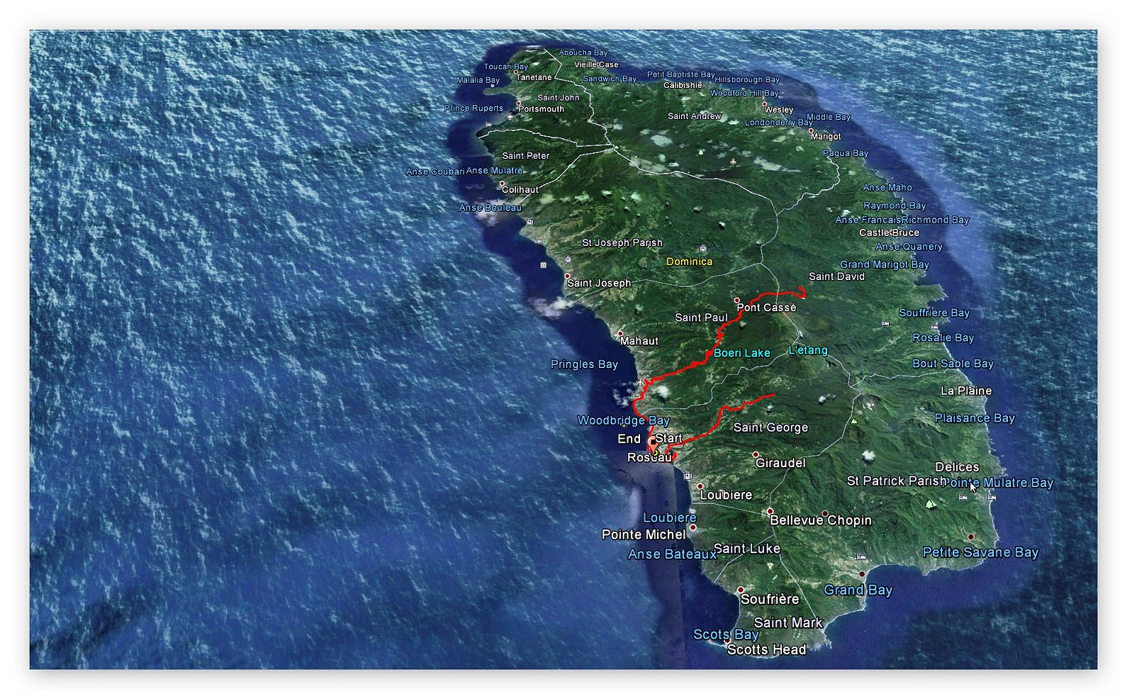 GPS - Aufzeichnung - Landgang Dominica