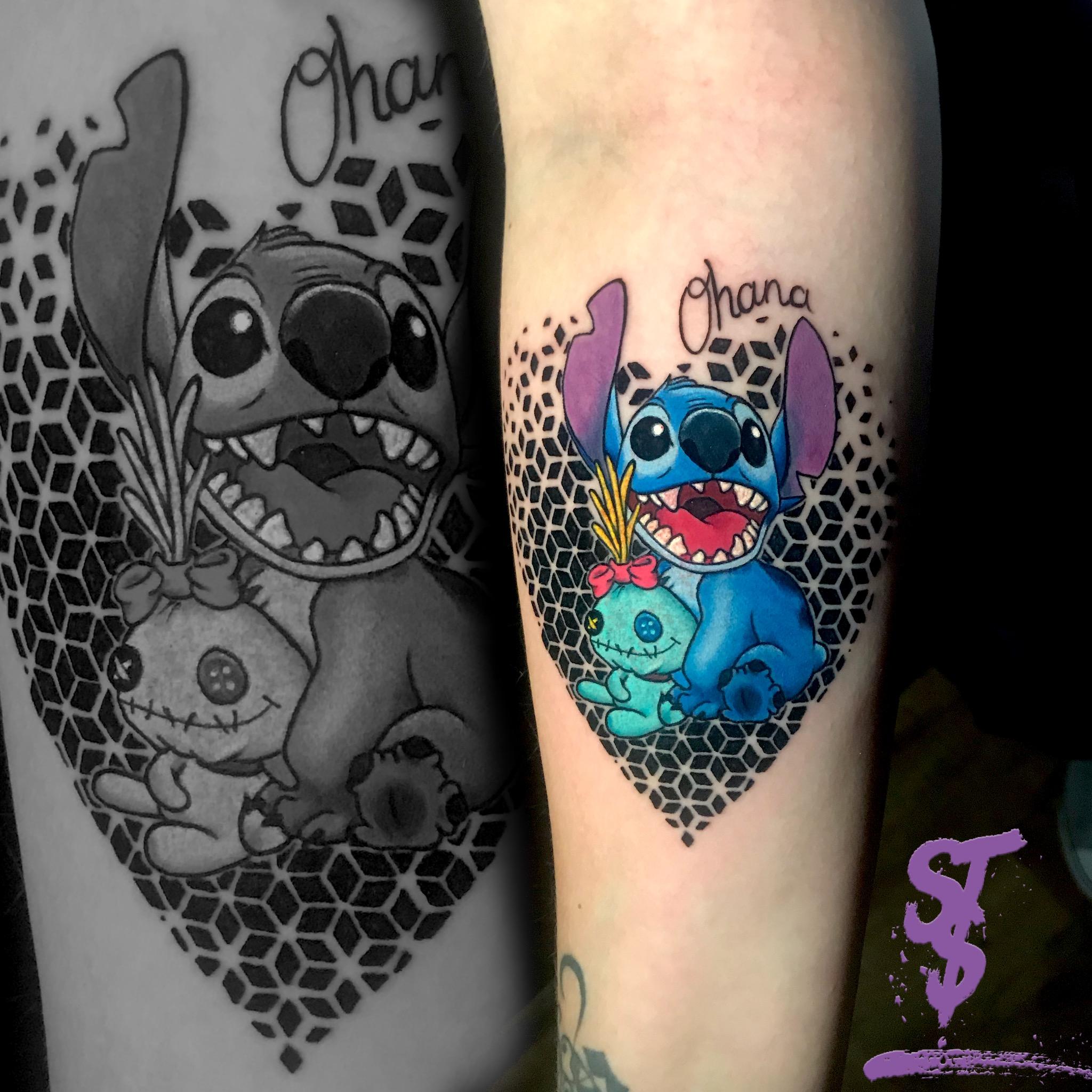 ohana stich color comic tattoo