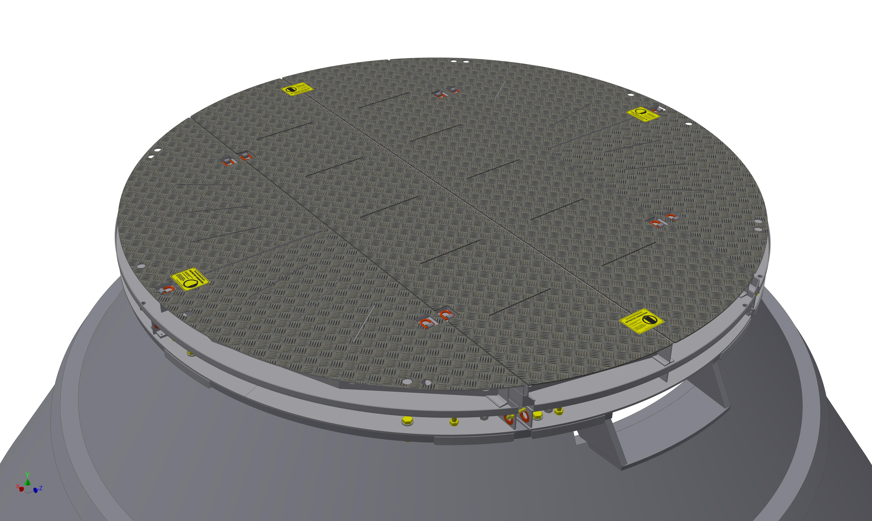 geteilte Konverterabdeckplatte bis 500°C
