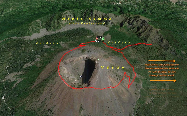 Fließrichtung des pyroklastischen Stromes beim Ausbruch des Vesuvs im Jahre 79 n. Chr.