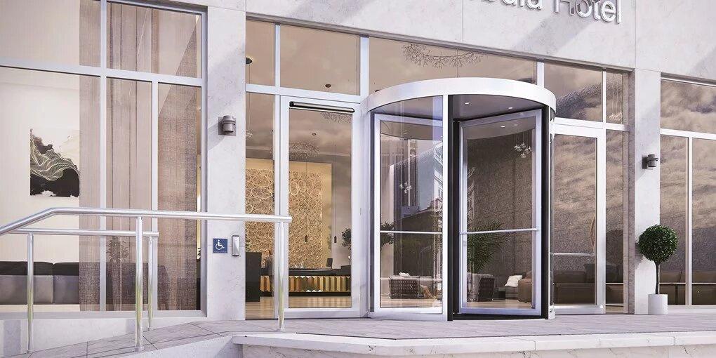 avtomatska steklena vrata - kompekten vrtljiv model