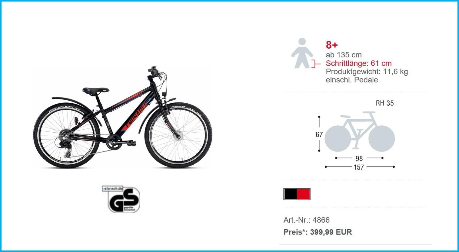 PUKY Fahrrad CRUSADER® 24 8 Alu Active schwarz