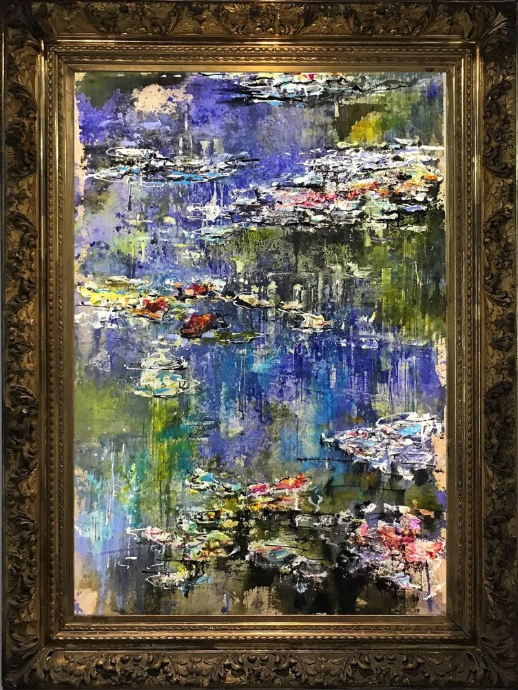 "SOLD ""Nymphéas""  - H100x70 cm -  Mixed media on canvas -  19th Century Gold Guilded frame H125x95x10 cm"