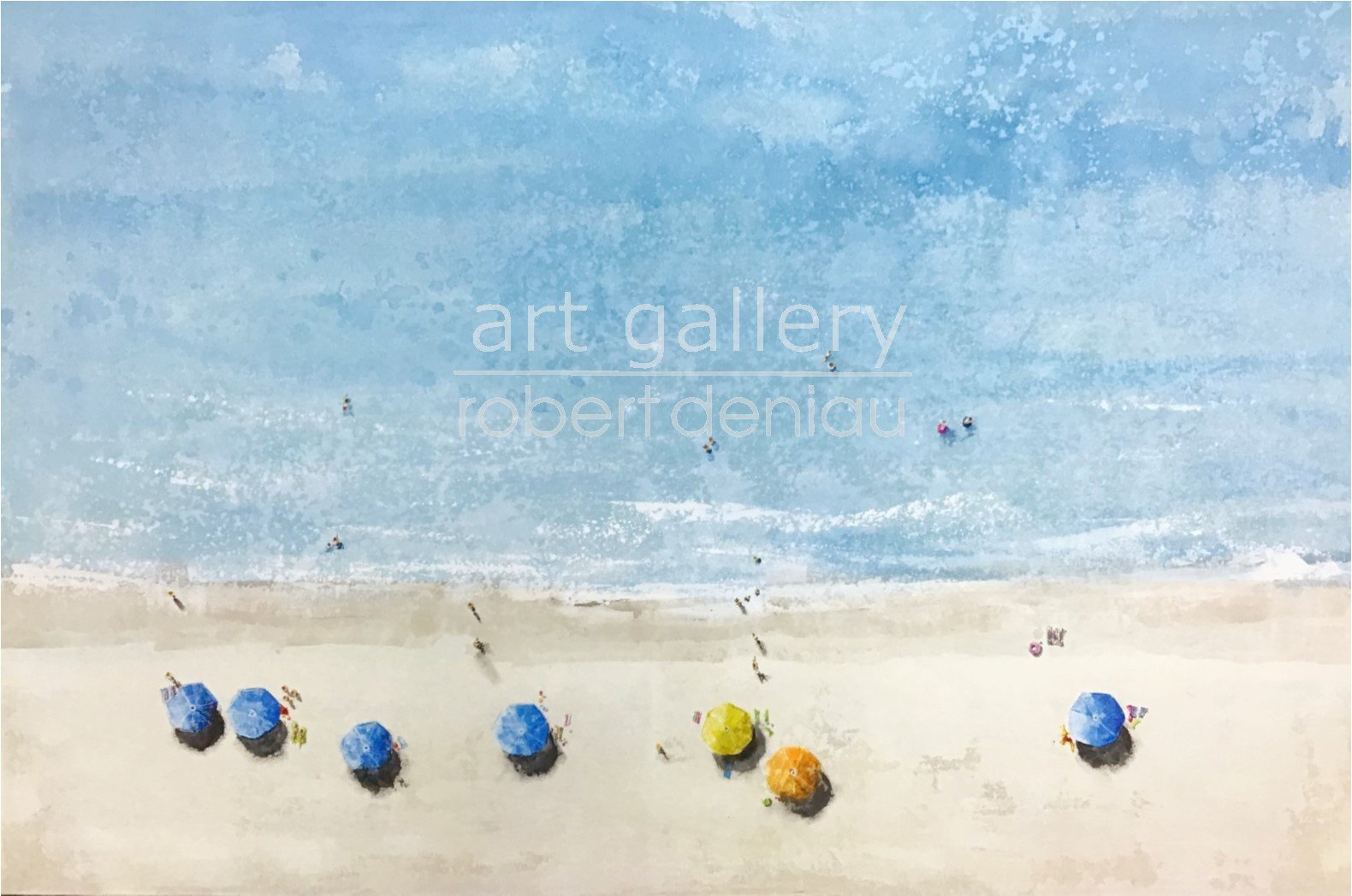 """SOLD Spiaggia """"special request"""" H97x146 cm -  Mixed Media on canvas"""