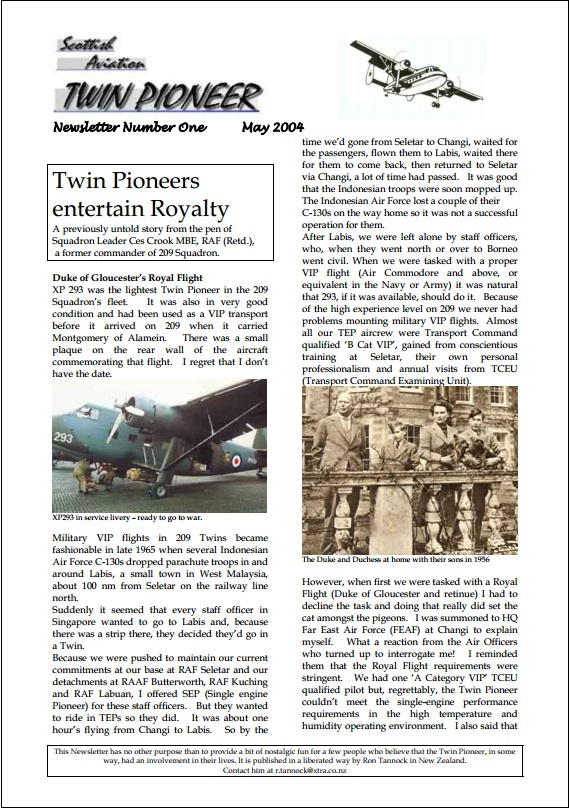 Click on image to access the archive of Twin Pioneer newsletters