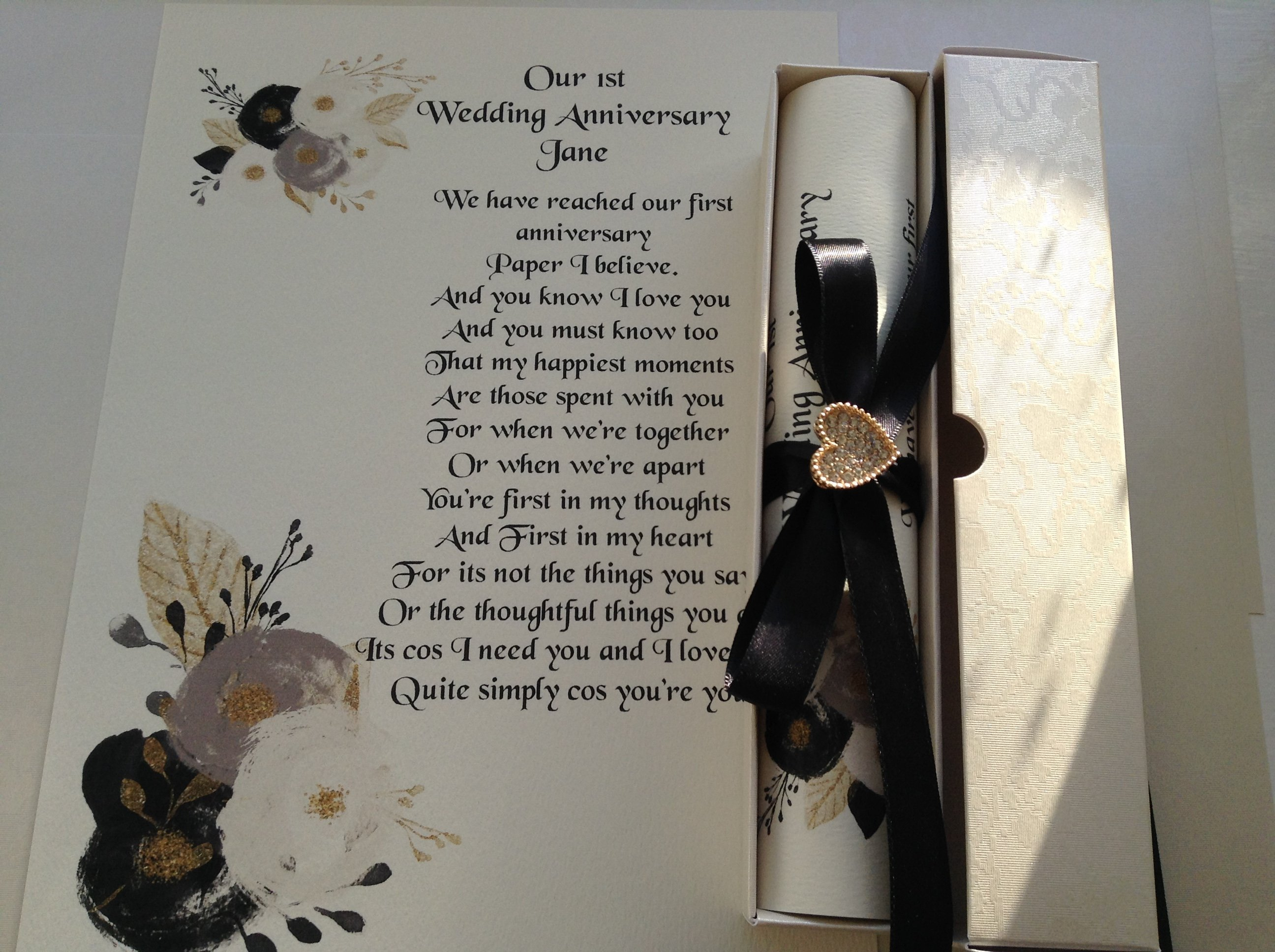 A4 boxed scroll diamante gold heart