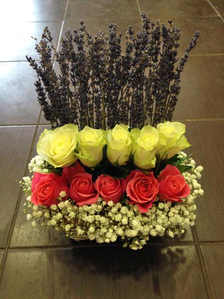 Panier fleurs avec lavande - 35 €