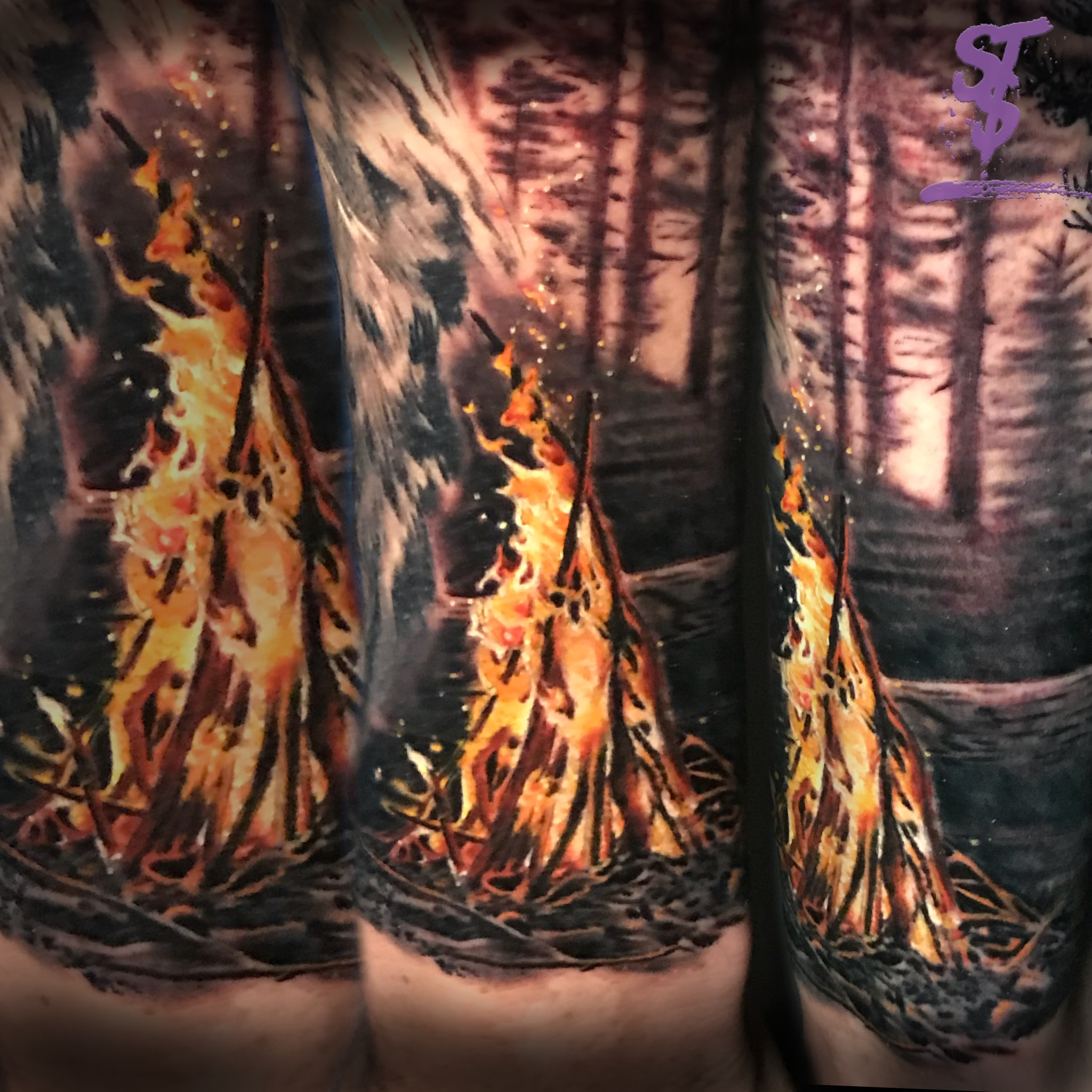 Fire flame color realistic tattoo