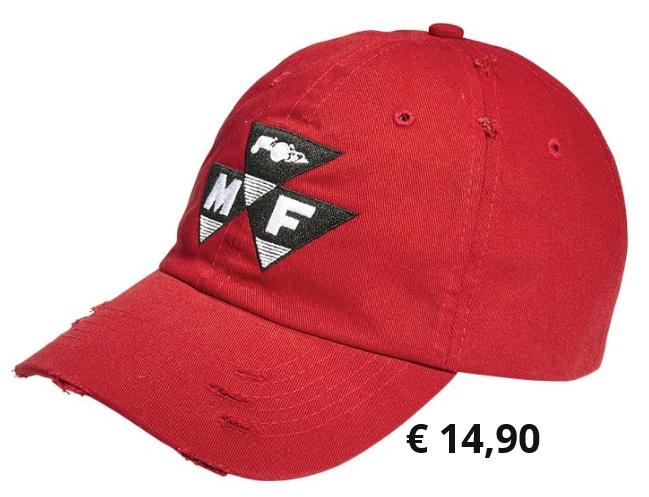 Rote Schirmmütze im verwaschenen  Look mit dem Original-Logo von  Massey Ferguson und verstellbarem  Riemen. Material:  100 % Baumwolle  Artikelnummer: X993211809000              € 14,90