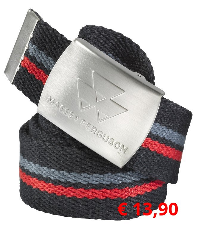 Robuster Webgürtel für optimalen  Tragekomfort und ausgezeichnete  Bewegungsfreiheit. Silberne Metallschnalle mit  MF-Logo. Maße: 139 cmL/3,5 cm B Material: 100 % Polyester  Artikelnummer: X993051590100    € 13,90