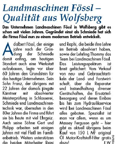 Text aus der Wolfsberger Zeitung