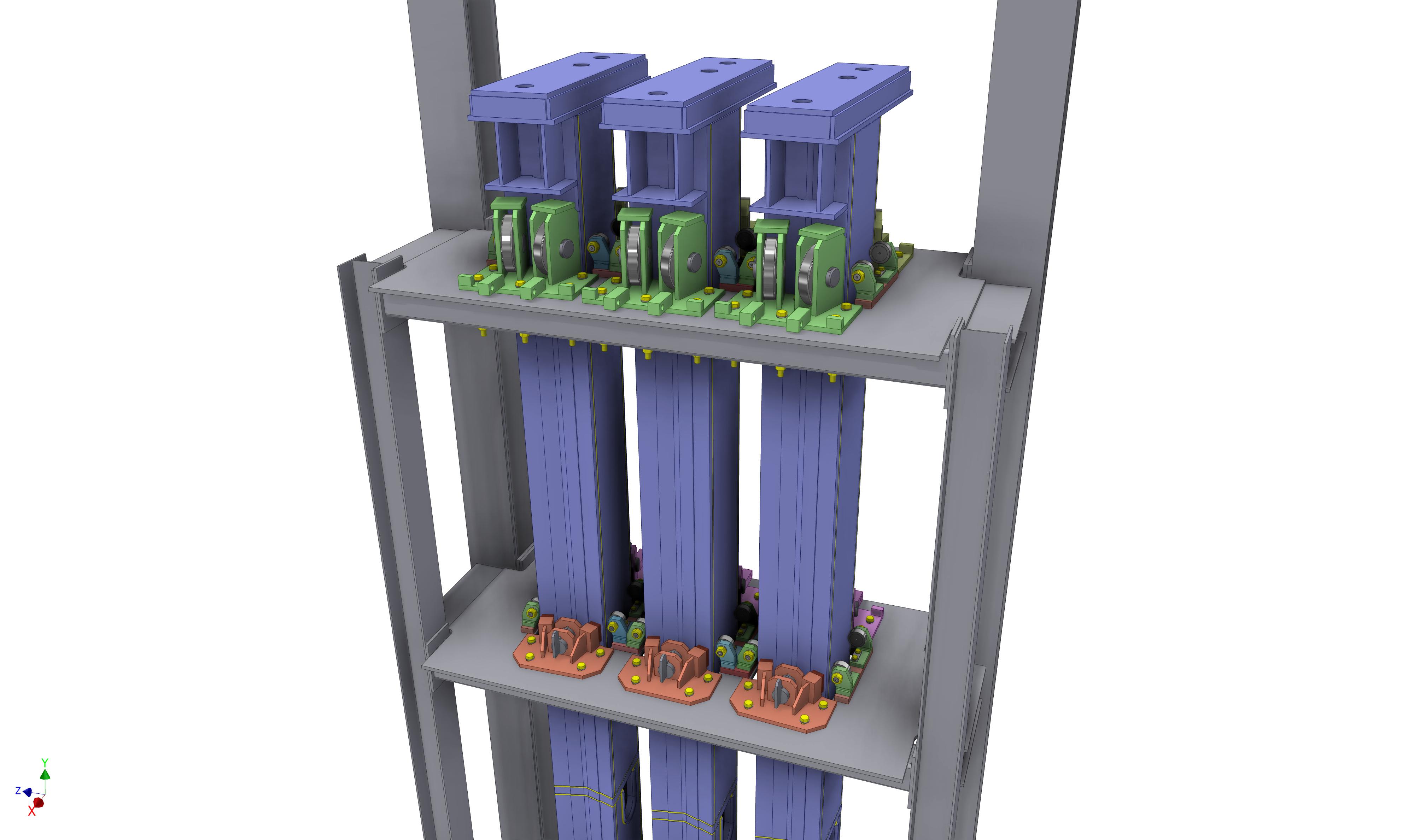 Seitenführungen für Elektrodenhubwerk