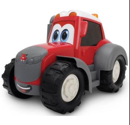 Ein lustiges Spielzeug für jüngere  Fans von Massey Ferguson. Die  Reifen des MF Happy sind frei  beweglich. Empfohlenes Alter: ab  12 Monate. Länge: 25 cm.  Artikelnummer: X993170001500 € 14,90