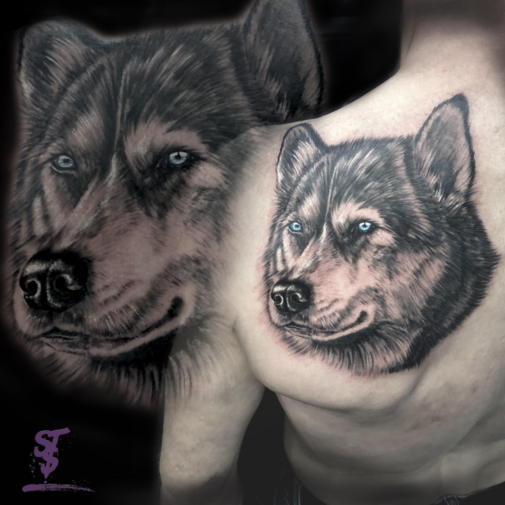 Hund dog Portrait Husky Akita Schulter Tattoo