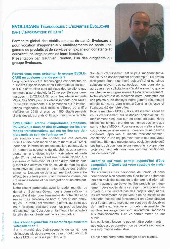 Interview de Gauthier Frandon Groupe Evolucare Technologies Regards de la FHP - 09/2011