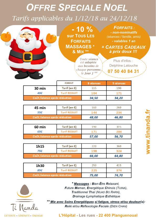 Offre Spéciale Noël / massage minceur, drainage lymphatique, et tuina minceur, ti nanda 22400 planguenoual
