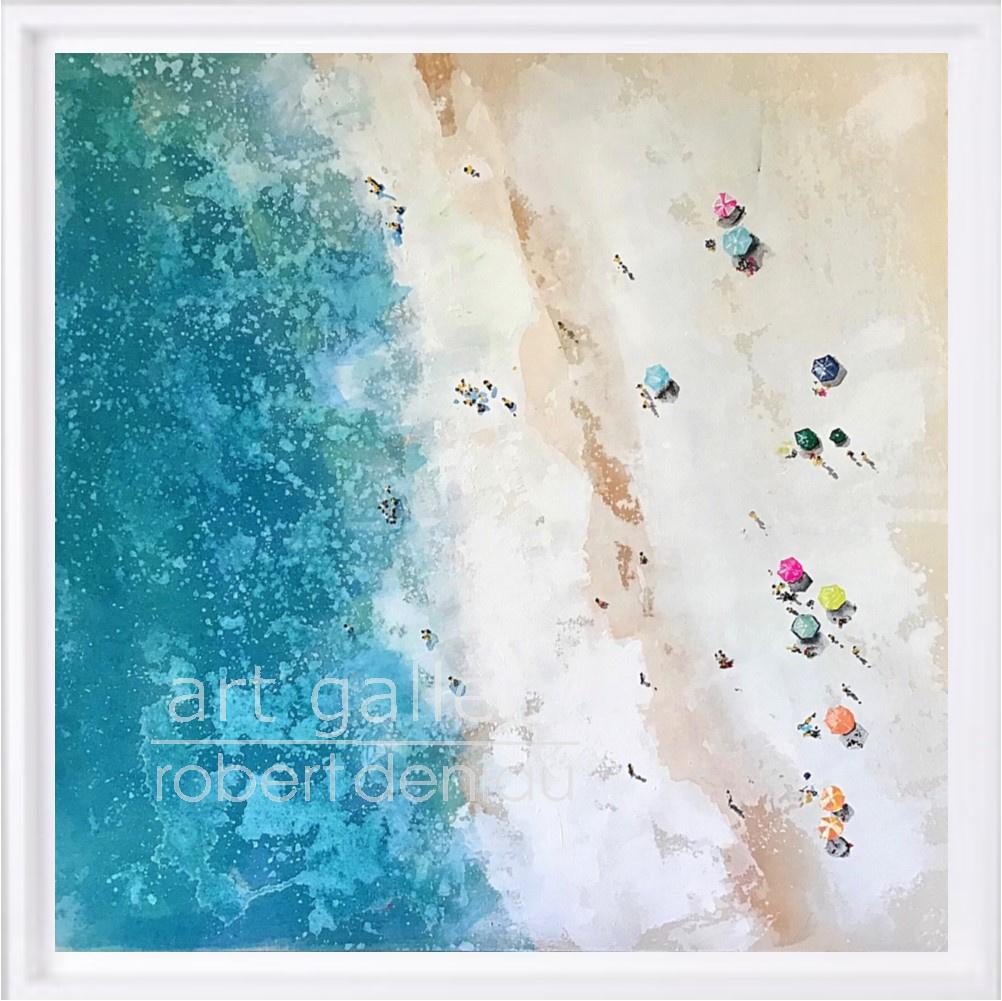 Beach 3 H60x60 cm - Framed 67x67 cm Mixed Media on canvas