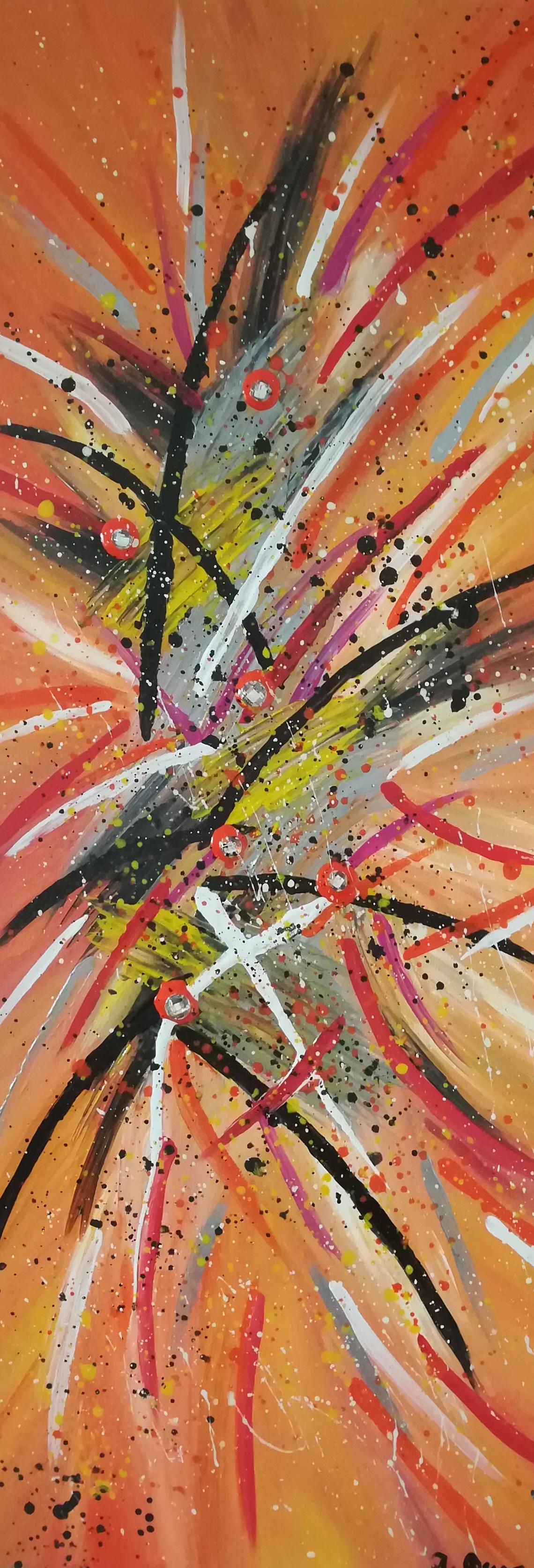 Abstract Orange mit Strasssteine und Glanzeffekt 25 cm x 58 cm  Preis 45 Euro
