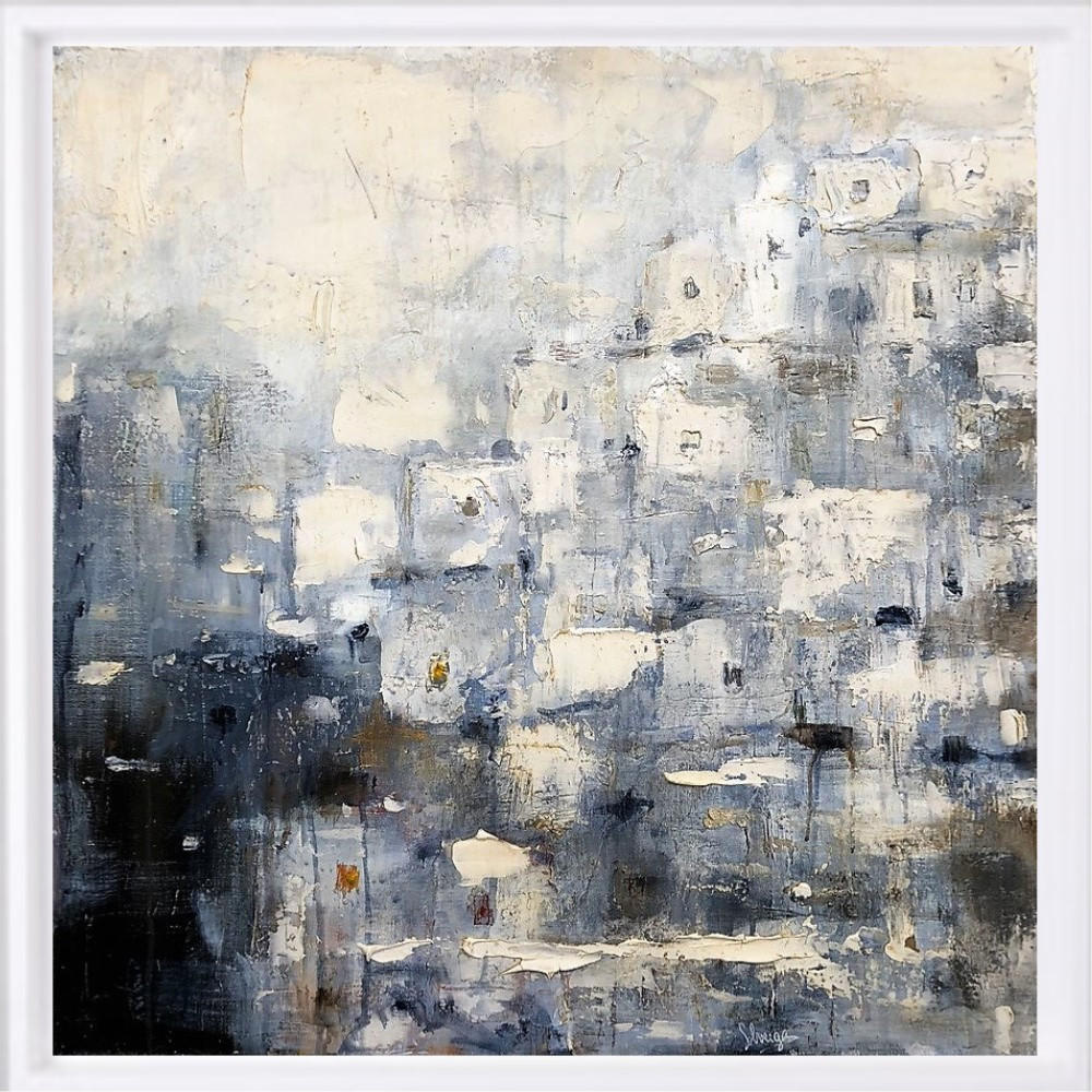 """Maroc 3"" H80x80 cm - Framed 87x87 cm Mixed Media on canvas"