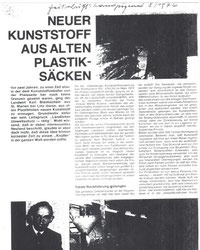 1976:  Neuer Kunststoff aus alten           Plastiksäcken (LJ Zeitschr.)