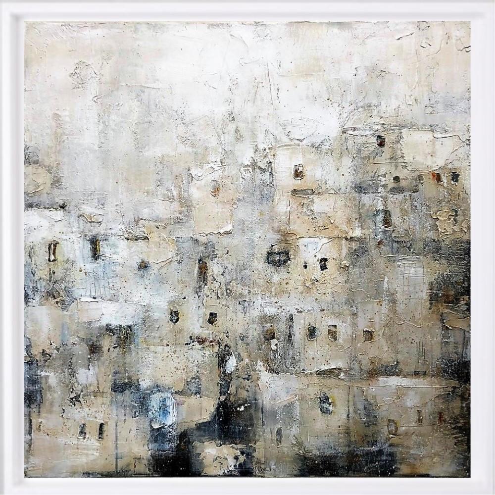 "SOLD ""Maroc 1"" H80x80 cm - Framed 87x87 cm Mixed Media on canvas"