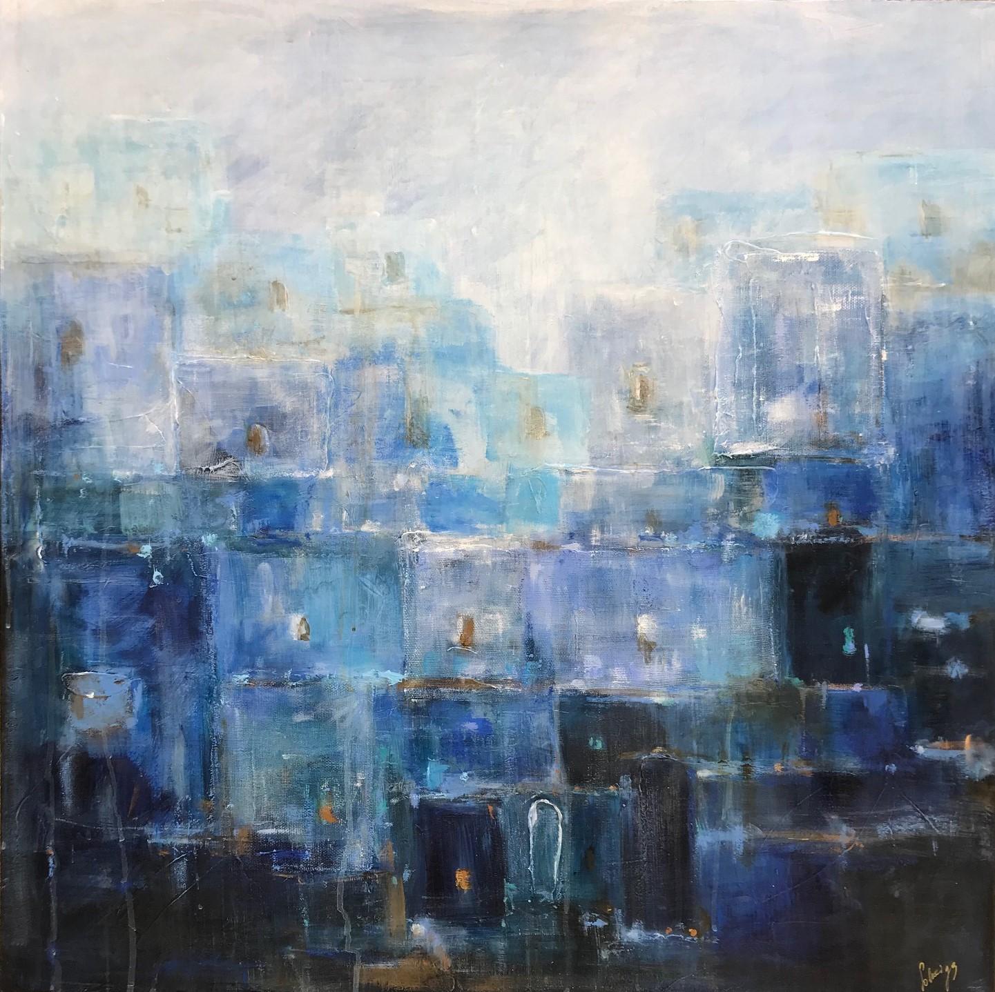 Blue city in Morocoo (painting galerie art robert deniau mougins)