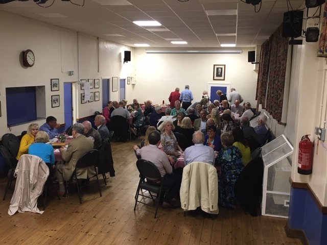 Enjoying dessert at the Village Hall The Safari Supper -  May 2019
