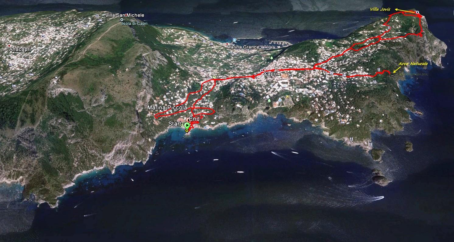 Unsere Wanderroute auf Capri. In Capri Stadt beginnt unsere Wanderung zur Villa Jovis. Abstieg auf der Nordseite zurück in die Stadt und anschließend abwärts zum Arco Naturale