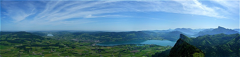 Gipfelpanorama Nord - Ost Irrsee - Mondsee - Drachenwand - Schafberg