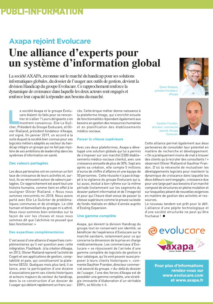 Axapa rejoint Evolucare : Une alliance d'experts pour un SI global Direction(s) - Juin 2019