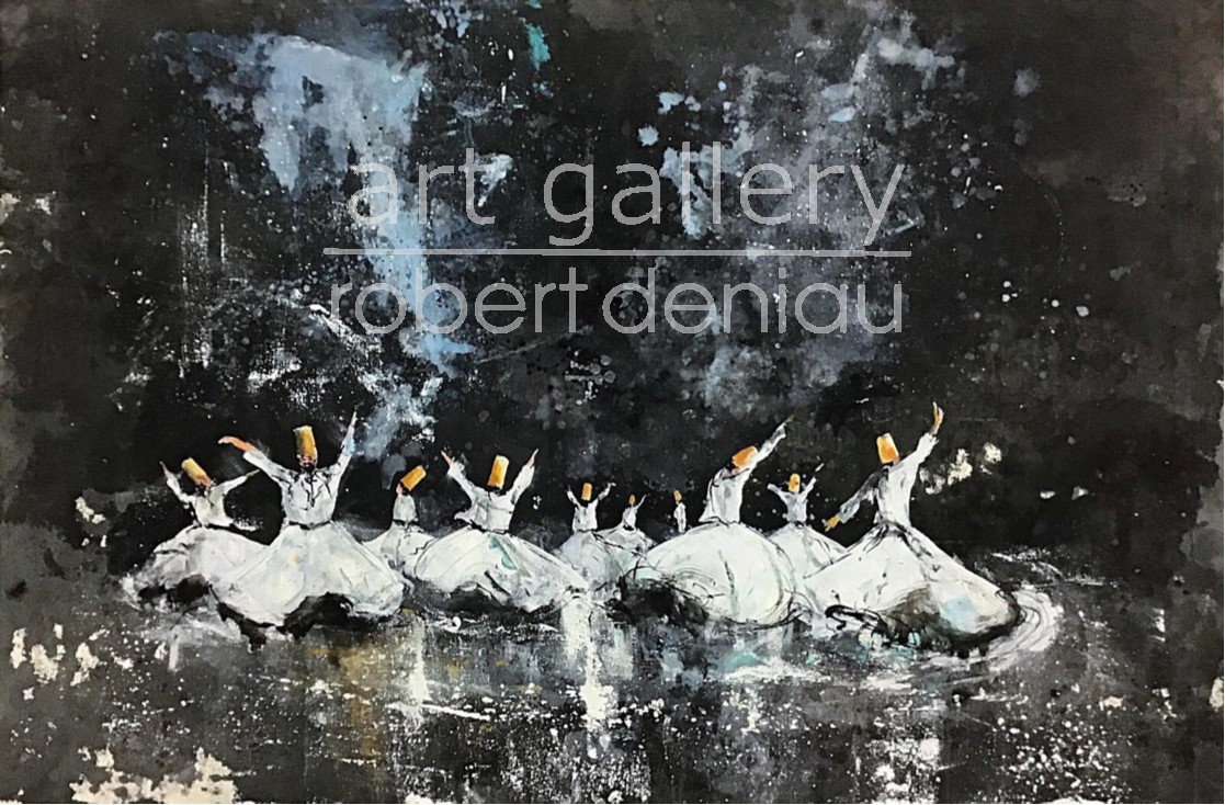 SOLD Dervish Party - Commission H80x120 cm Mixed Media on canvas