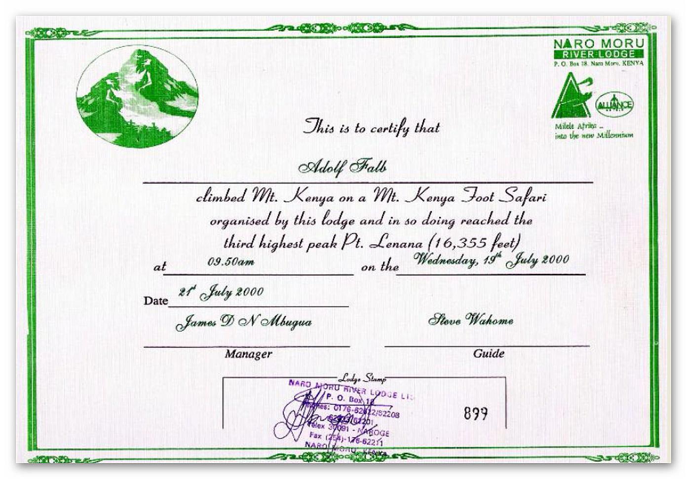 Mount Kenya Zertifikat