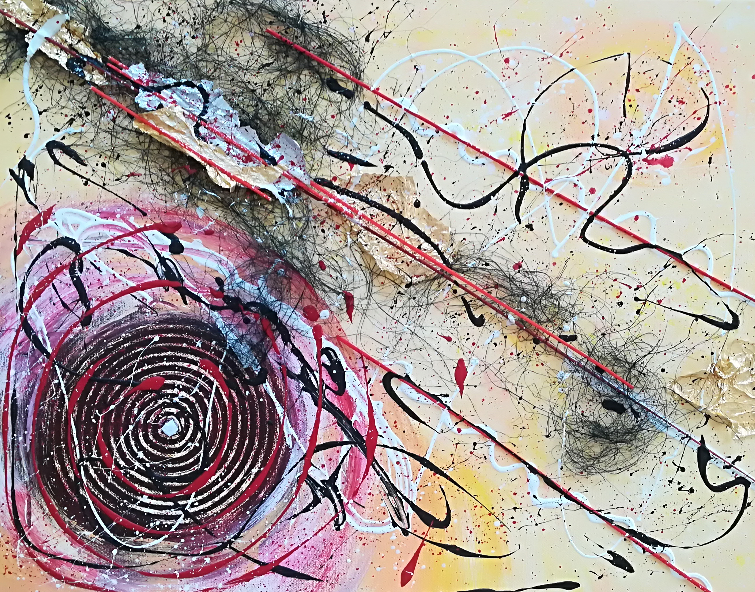 Abstract Leben mit Engelshaar, Steine und Blattgold 50 cm x 40 cm  Preis 50 Euro