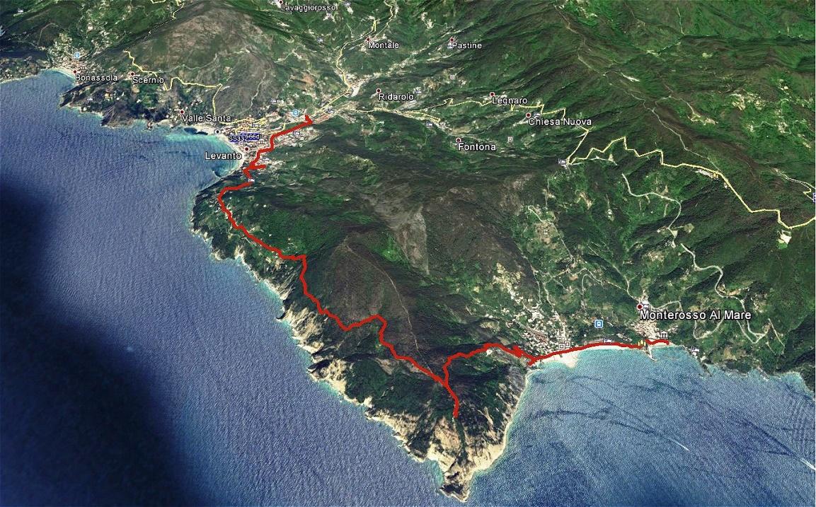 GPS-Aufzeichnung - Wanderung Levanto-Monterosso