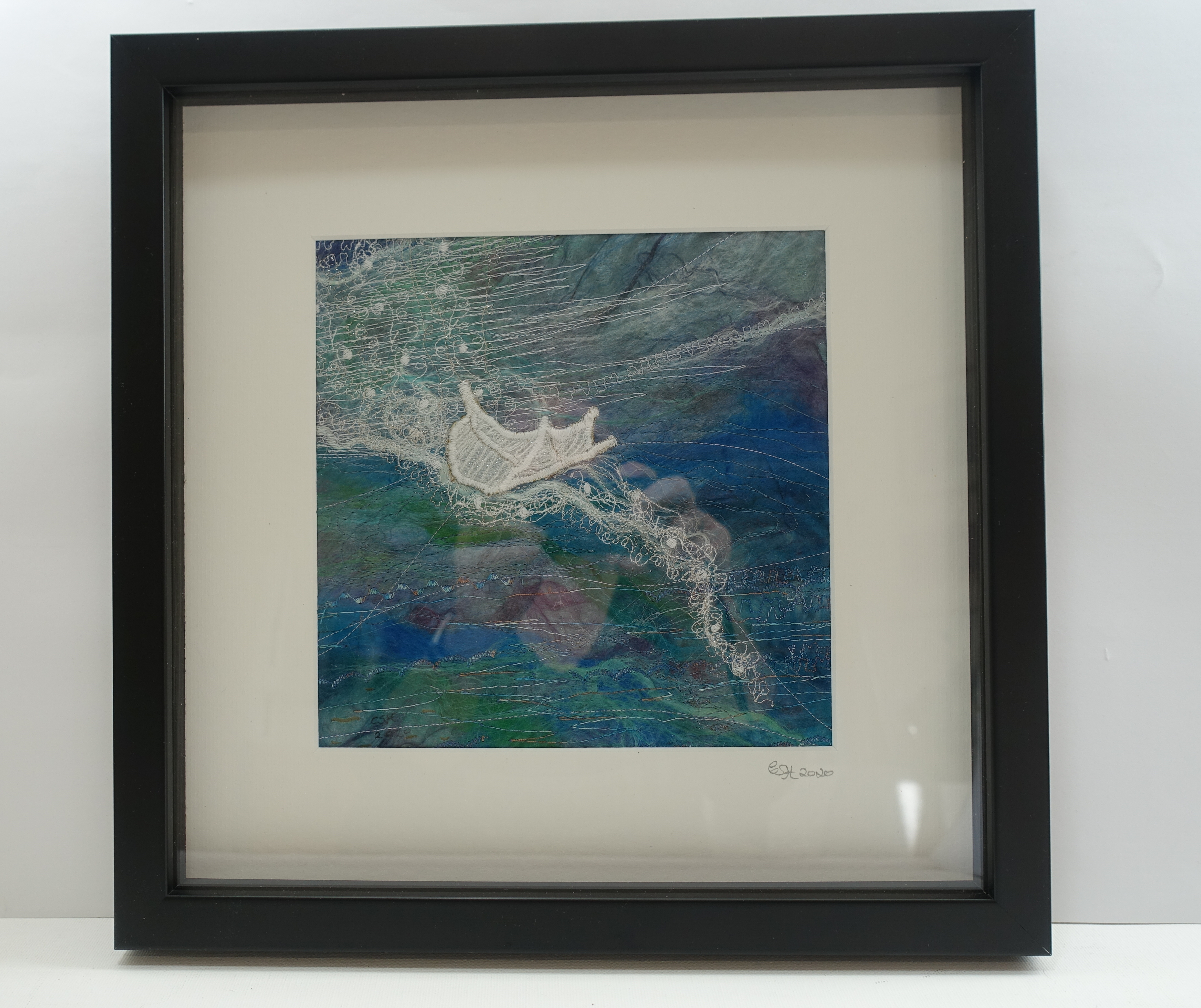 Title Floating Feather Price £75 Size 33cm square Black Frame