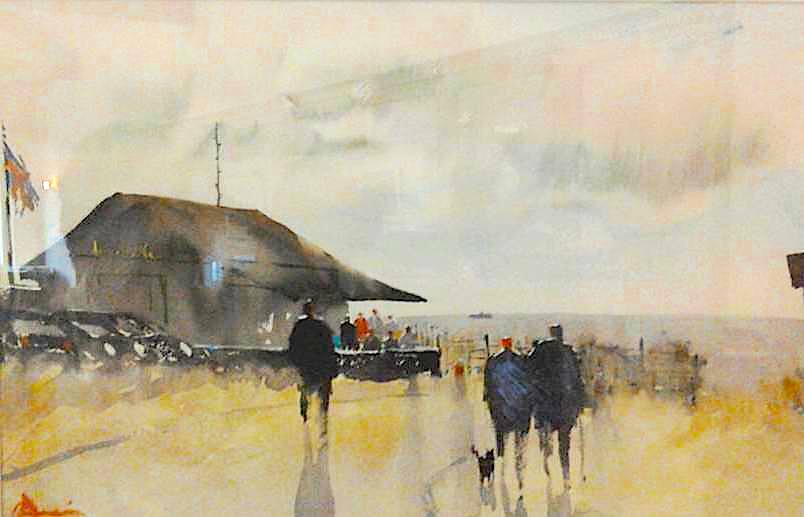 Winterton Beach Cafe, watercolour Claudia Araceli