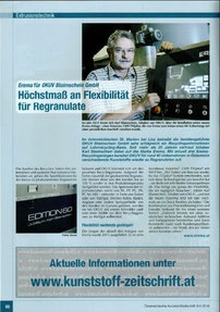 2015:  Best practice/Post industrial:       OKUV Blaimschein GmbH       (Erema Recycling News)
