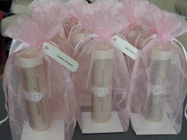 A5 organza bags in pink